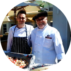 Owner and Chef Luis Elu and staff onsite at Paella Grill Catering Event