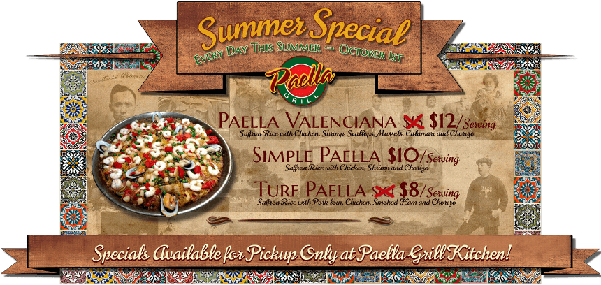 Paella Grill Catering & Event Space Summer Specials